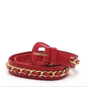 CHANEL chain belt leather red gold